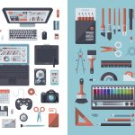 A set of flat design-styled objects found on a designer's desk. EPS 10 file, layered & grouped, Branding Office Supplies